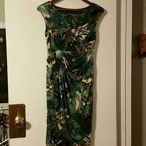 Woman's Connected brown /blue print dress sz4